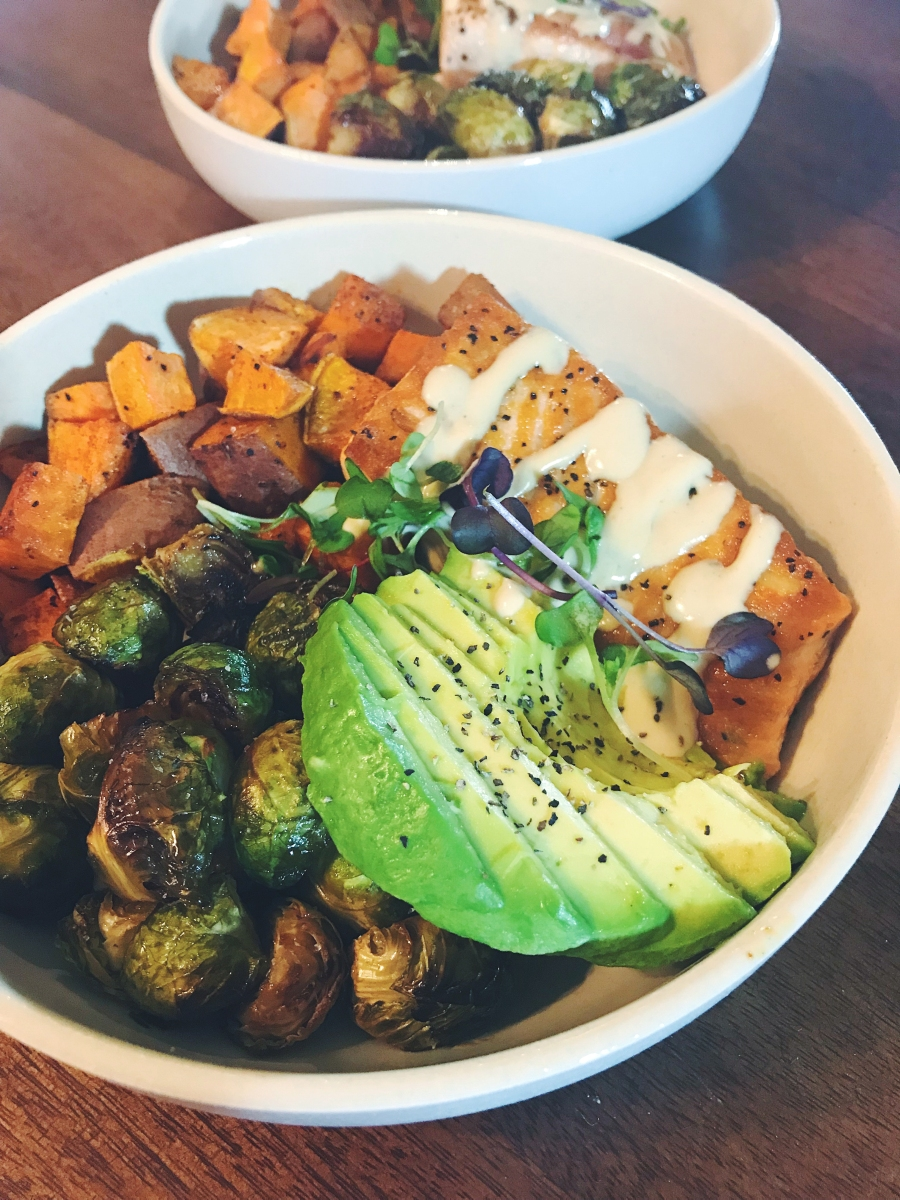 Salmon, Sweet Potato + Maple Soy Brussels Sprouts Power Bowls