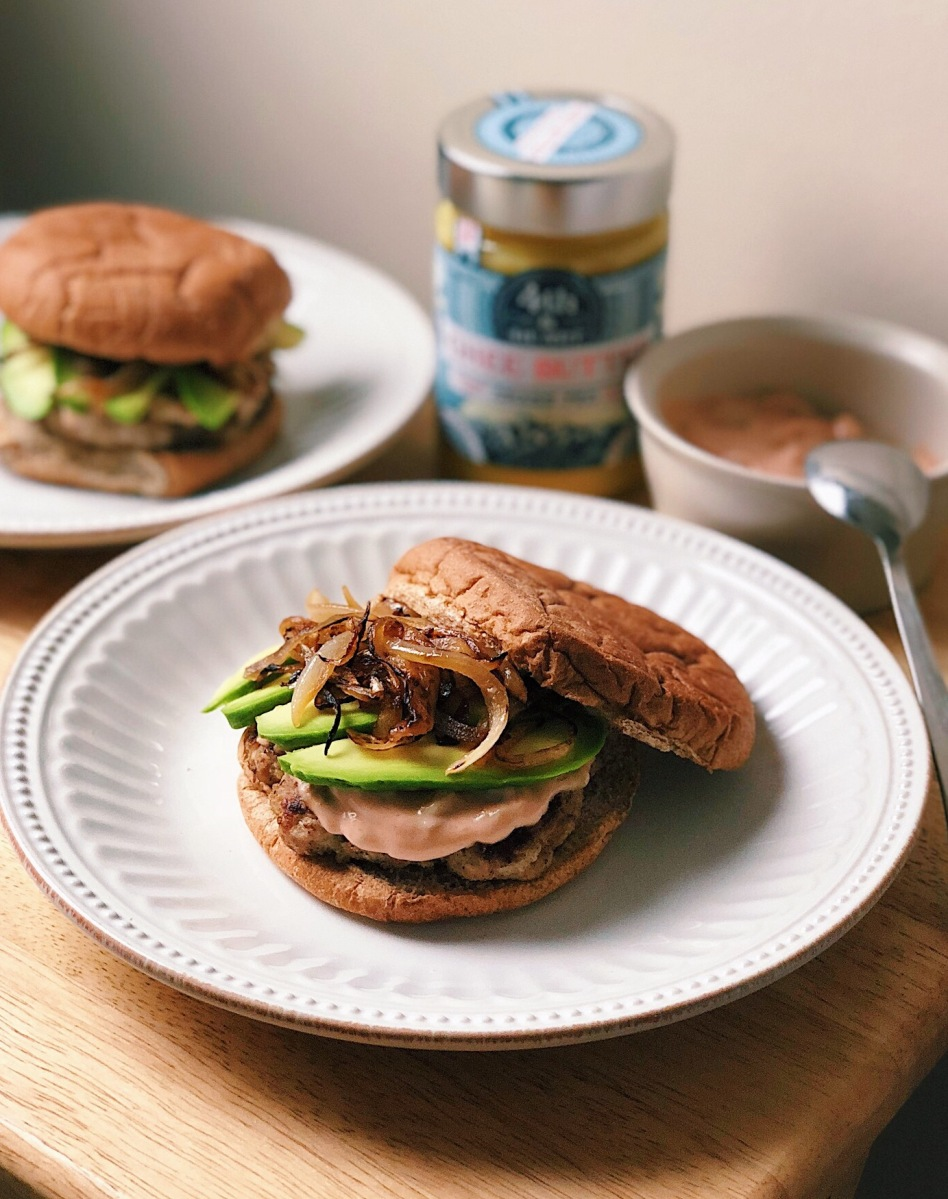 Turkey Burgers with Special Sauce, Avocado + Caramelized Onions